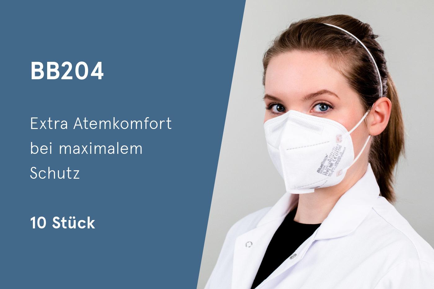 BlueBec® BB204, 10er Box FFP2-Masken, CE-zertifziert (CE 0158)