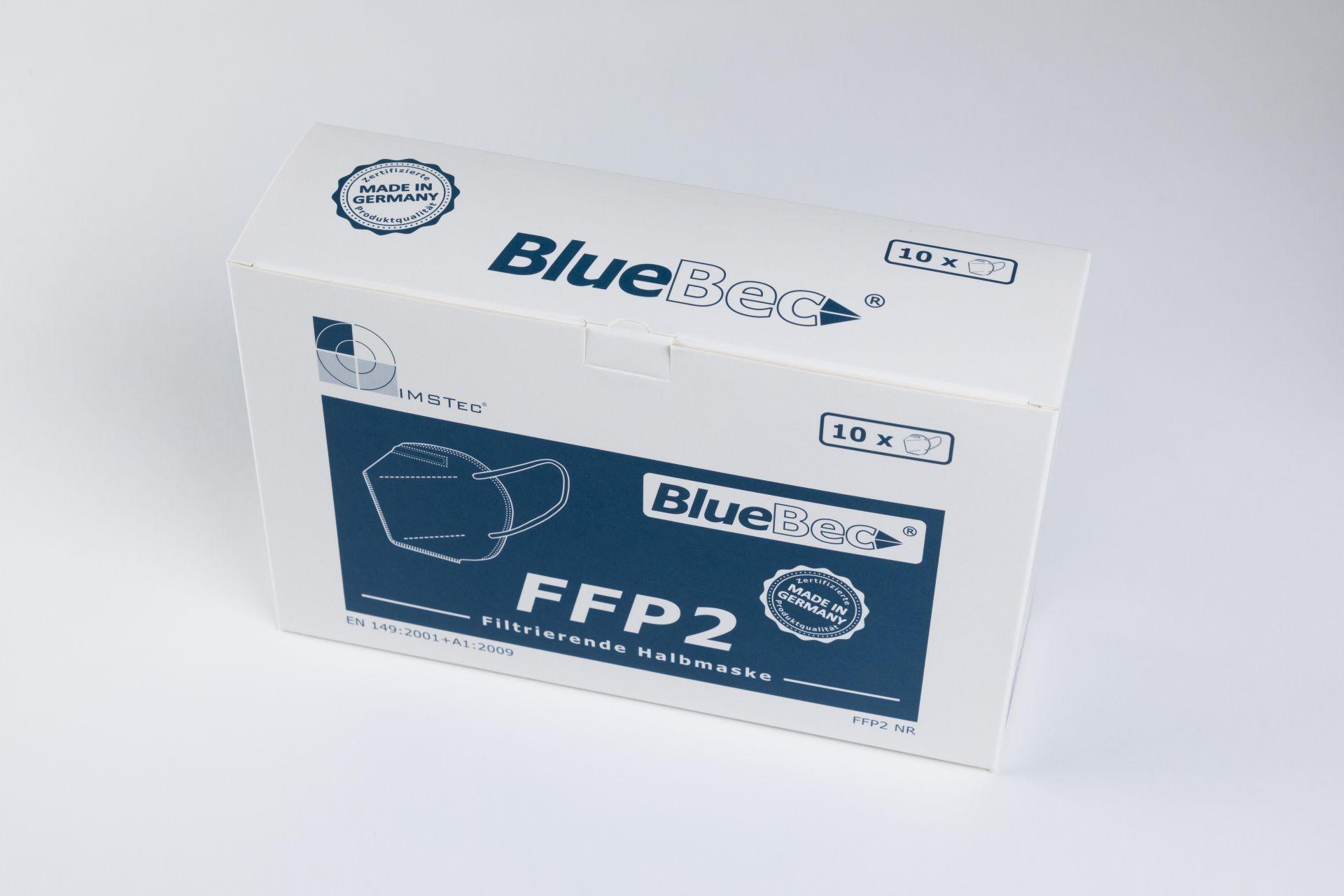 BlueBec® BB204, 10er Karton FFP2-Masken, CE-zertifziert (CE 0158)