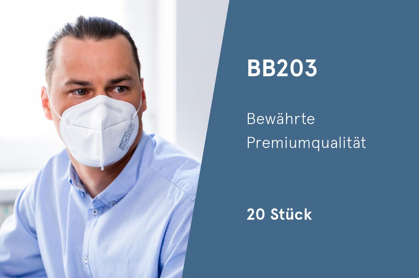 BlueBec® BB203, 20er Box FFP2-Masken, CE-zertifiziert (CE 0158)